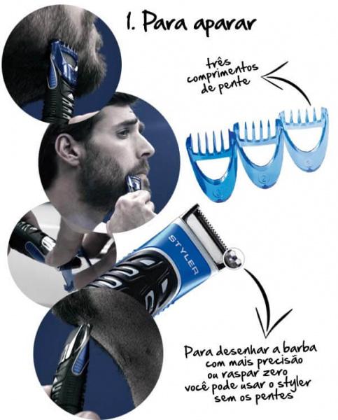 aparelho de barbear gillette 3 em 1 fusion proglide styler